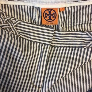 Tory Burch Cotton Stripe Wide Leg Pants Sz 2 Navy